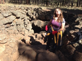 My sister as we are finishing our hike in the Lava Tubes in Flagstaff, AZ