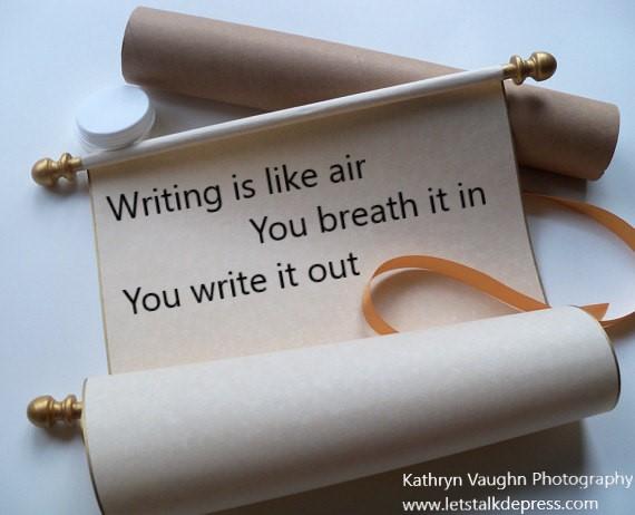 Writing Scroll by Kathryn Vaughn Photography www.letstalkdepress.com